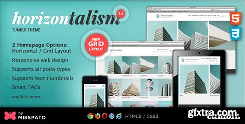 ThemeForest - Horizontalism v1.2 - Tumblr Theme - 6423628