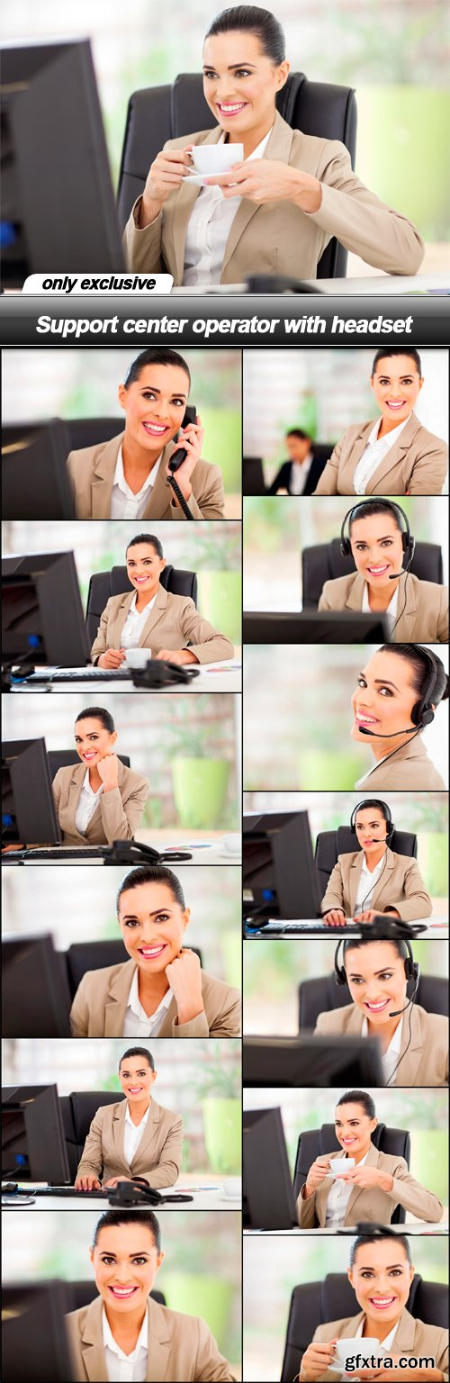 Support center operator with headset - 13 UHQ JPEG