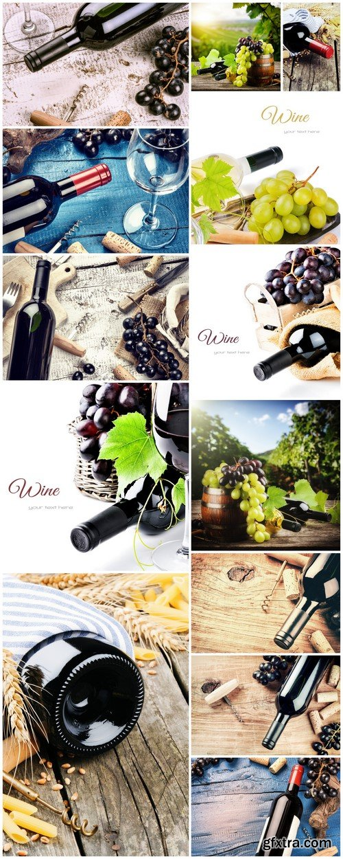 Bottle of red wine with fresh grape 13X JPEG