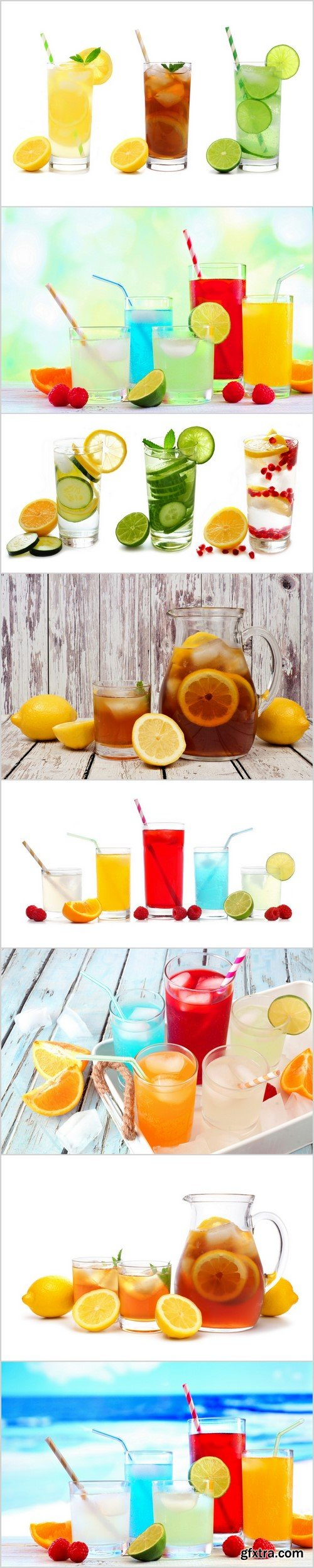 Group of cold colorful summer drinks with fruit 8X JPEG