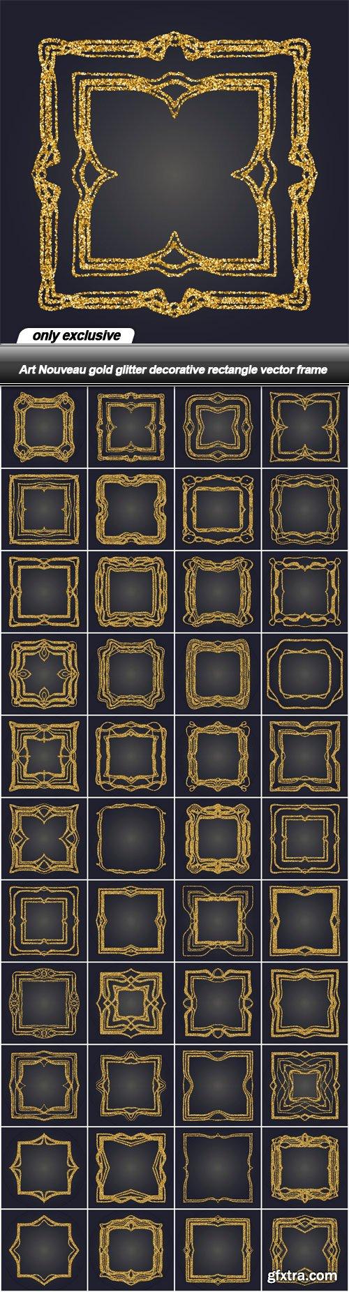Art Nouveau gold glitter decorative rectangle vector frame - 44 EPS