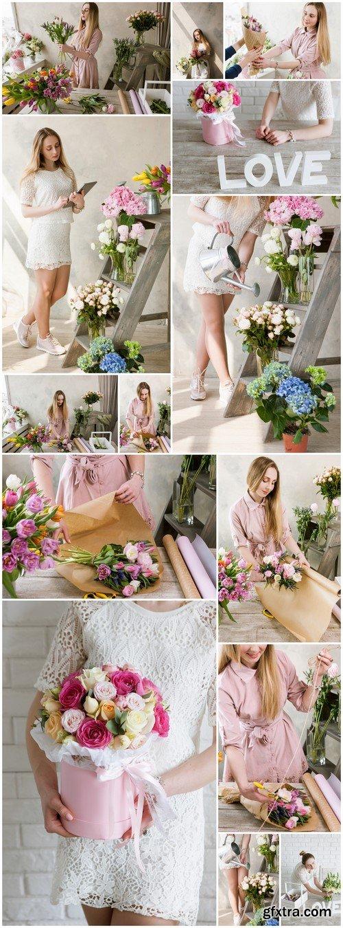 Woman packing pink spring bouquet 14X JPEG