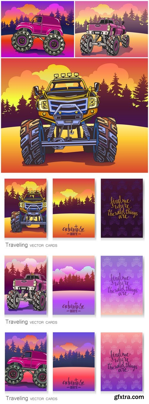 Cartoon Monster Truck Vector set of artistic colorful cards 6X EPS
