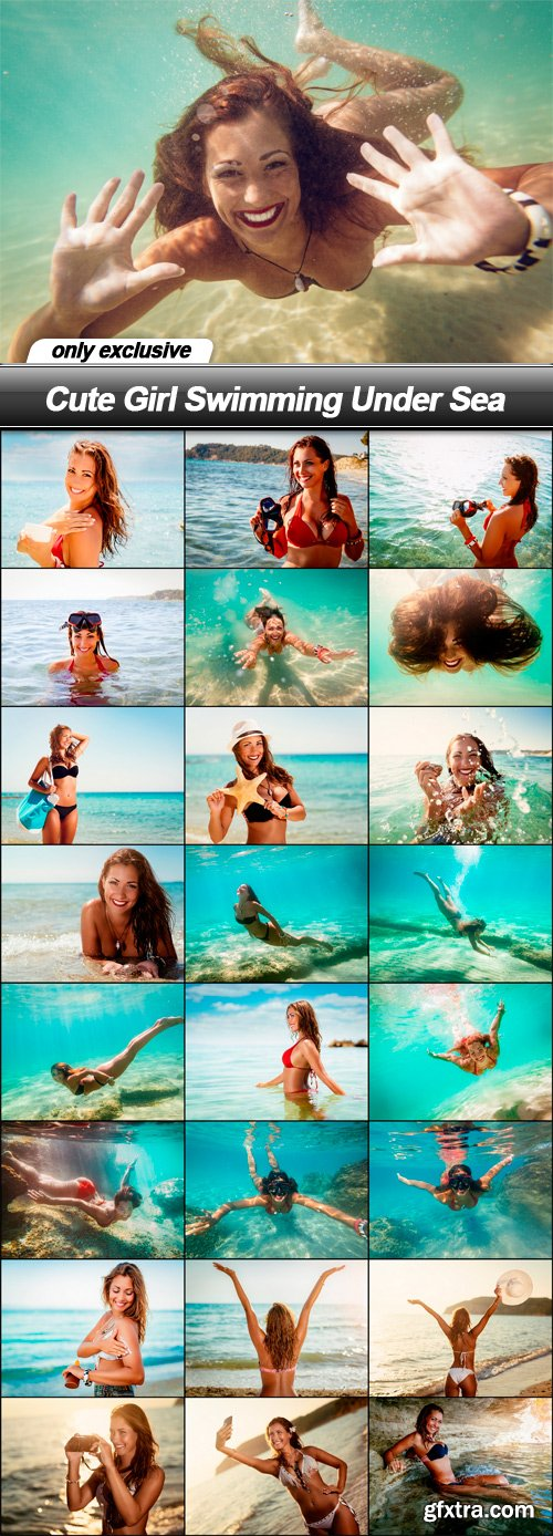 Cute Girl Swimming Under Sea - 25 UHQ JPEG