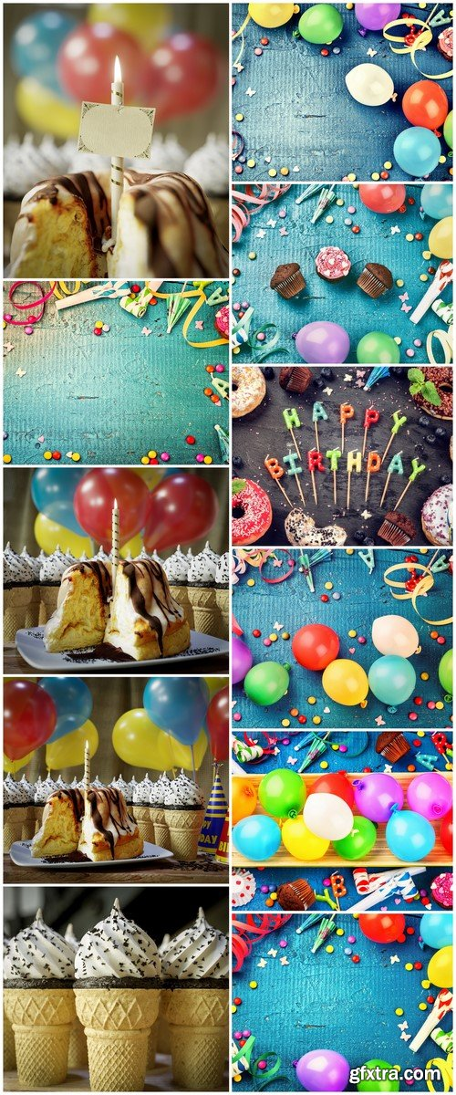 Colorful birthday background with multicolored balloons11X JPEG