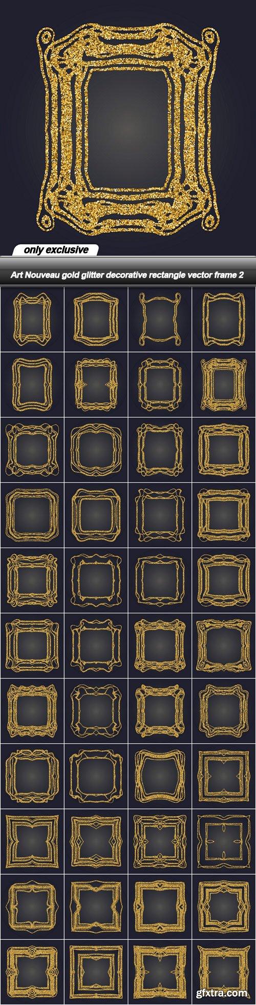 Art Nouveau gold glitter decorative rectangle vector frame 2 - 44 EPS