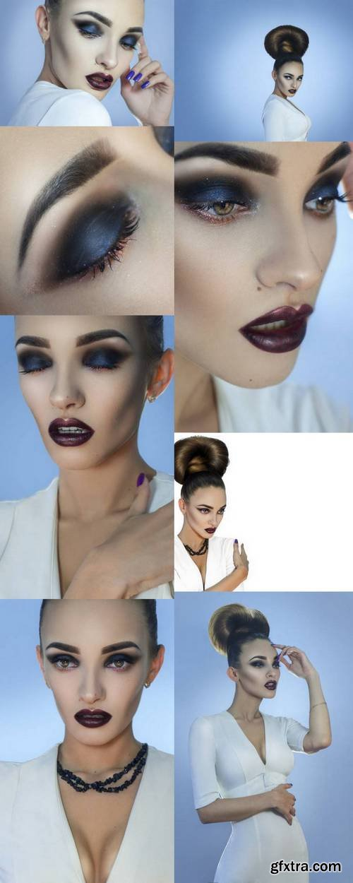 Fashionable Lady with Creative Hairstyle and Beautiful Make up