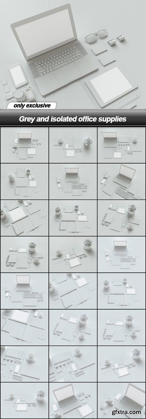 Grey and isolated office supplies - 25 UHQ JPEG