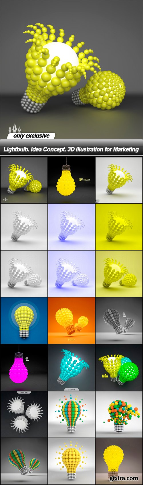 Lightbulb. Idea Concept. 3D Illustration for Marketing - 21 EPS