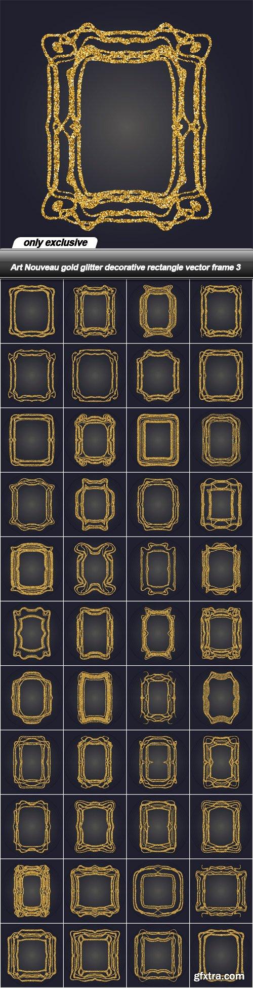 Art Nouveau gold glitter decorative rectangle vector frame 3 - 43 EPS