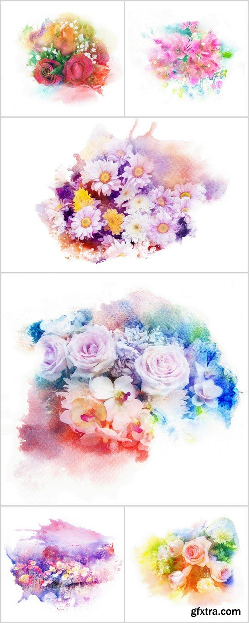 Flower watercolor illustration 6X JPEG
