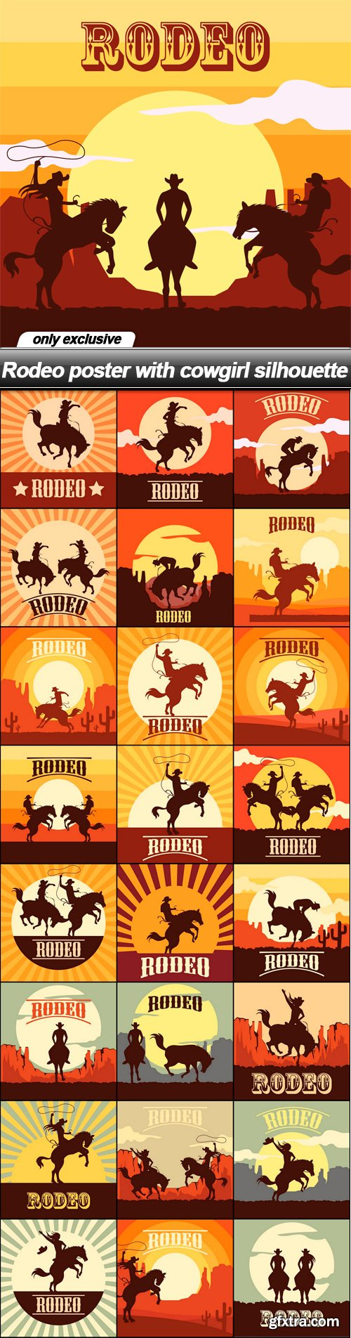 Rodeo poster with cowgirl silhouette - 25 EPS