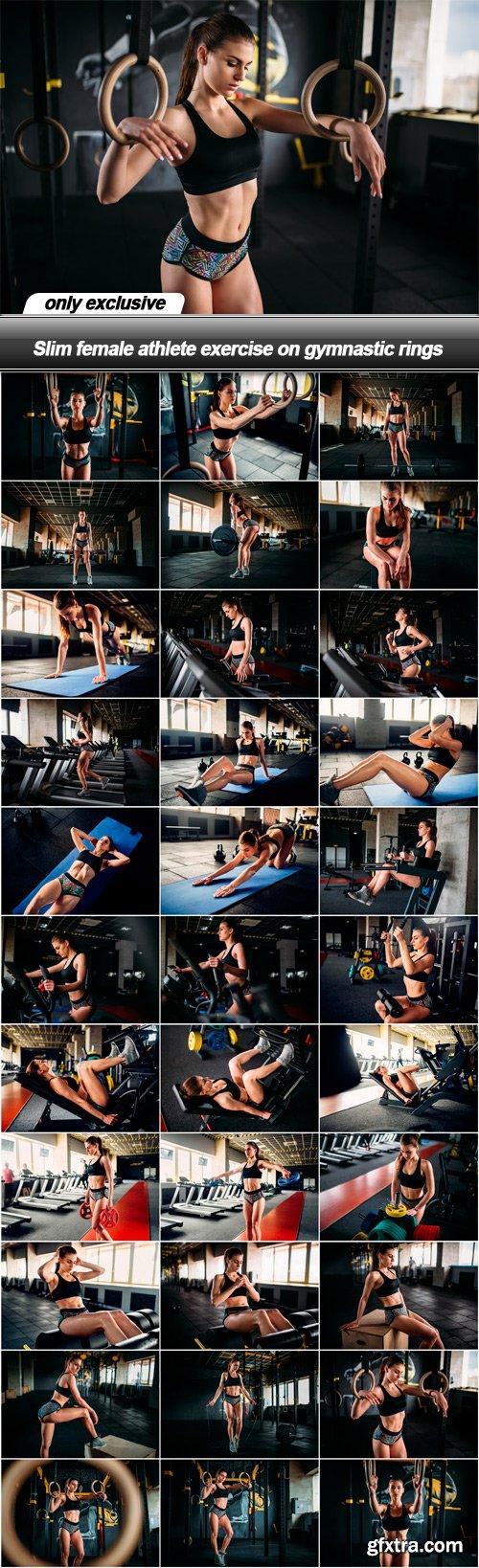 Slim female athlete exercise on gymnastic rings - 32 UHQ JPEG