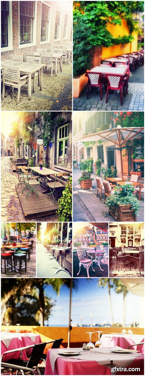 Cafe with outdoor terrace City street background #2 9X JPEG