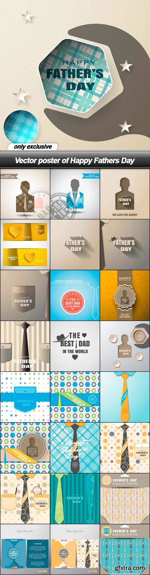 Vector poster of Happy Fathers Day - 25 EPS