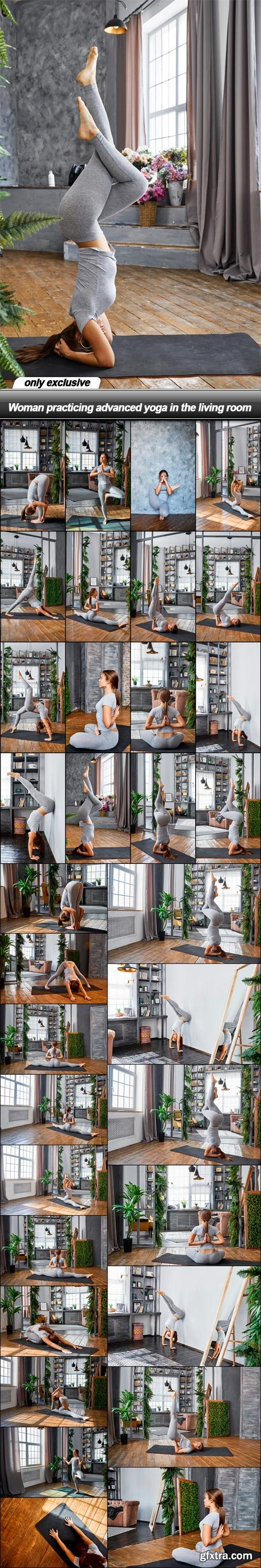 Woman practicing advanced yoga in the living room - 33 UHQ JPEG