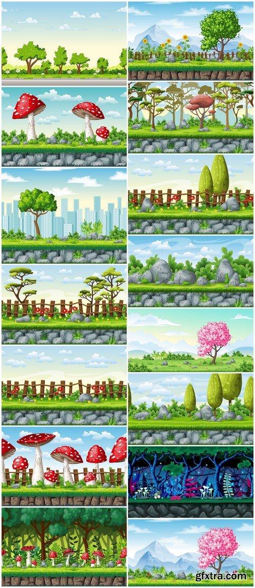 Seamless cartoon nature background Vector #2 15X EPS