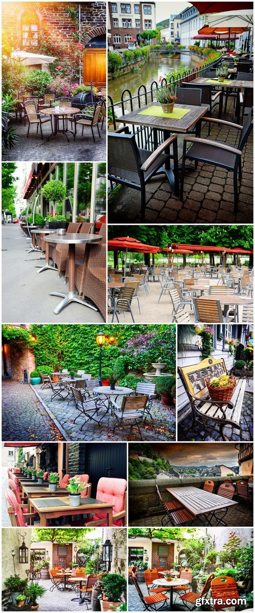 Cafe with outdoor terrace City street background #3 10X JPEG
