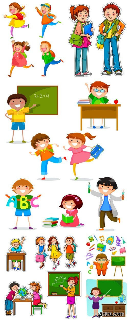 School children vector illustration 6X EPS
