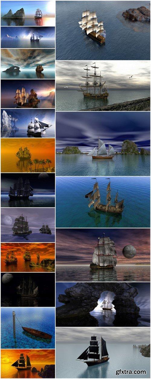 3d illustration Ship 19X JPEG