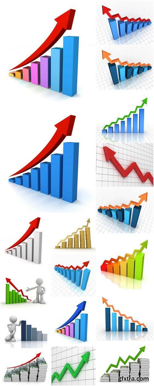 Rising business graph concept 3d illustration 18X JPEG