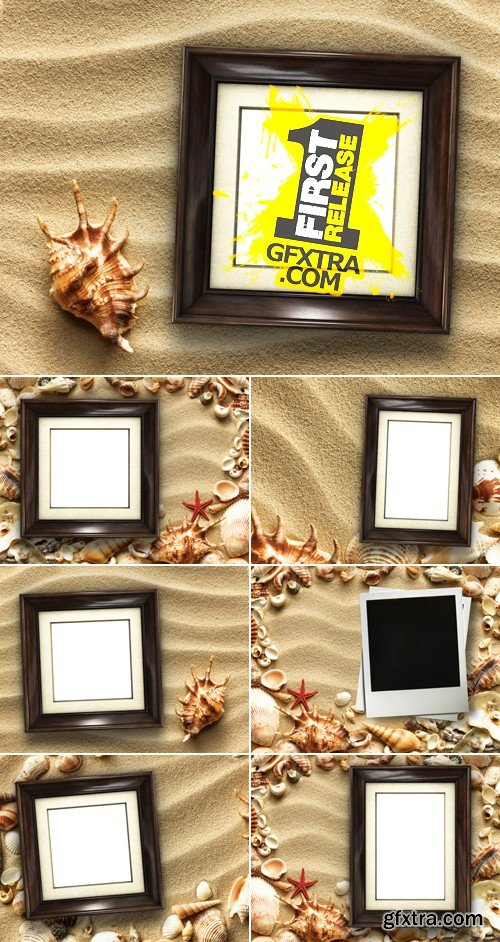 Stock Photo - Picture Frame on Sand Background