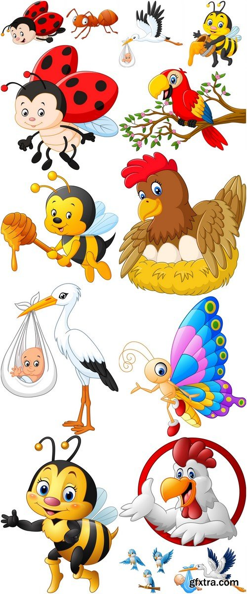 Birds and insects vector illustration 14X EPS