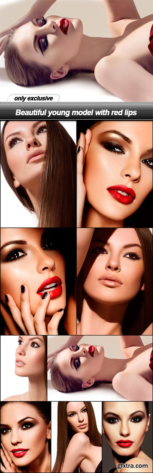 Beautiful young model with red lips - 9 UHQ JPEG