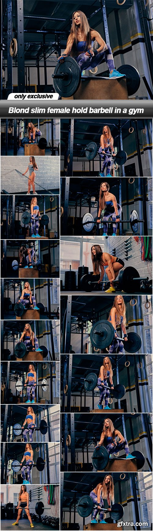Blond slim female hold barbell in a gym - 17 UHQ JPEG