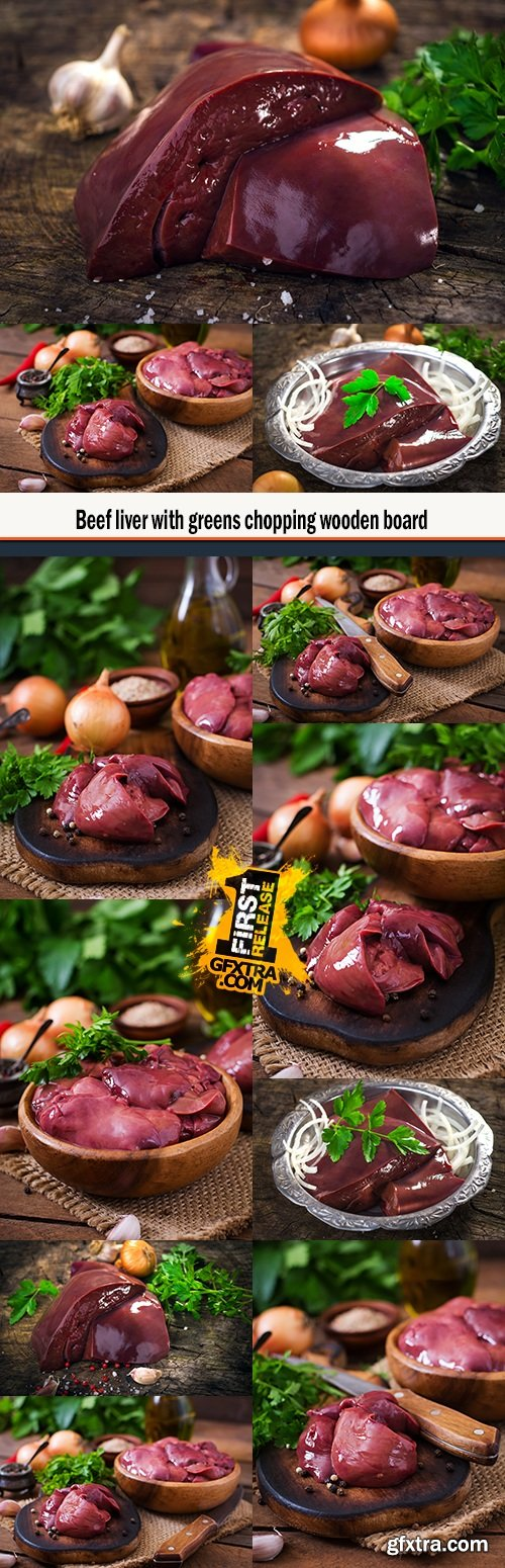 Beef liver with greens chopping wooden board
