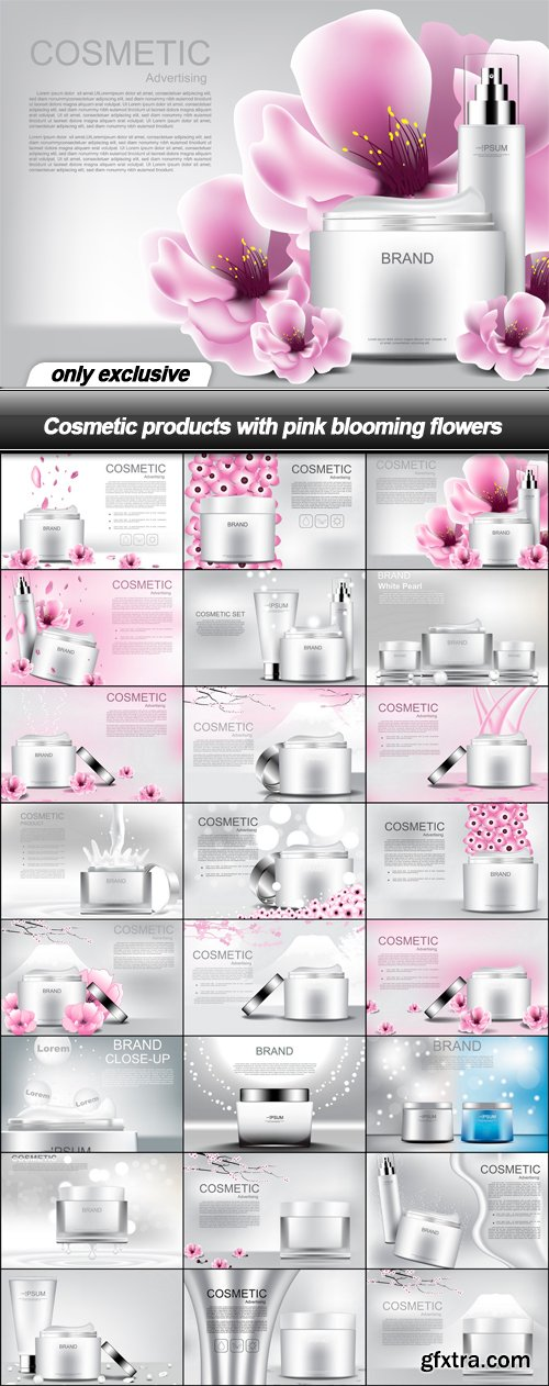 Cosmetic products with pink blooming flowers - 24 EPS