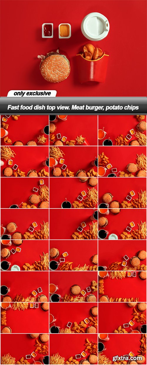 Fast food dish top view. Meat burger, potato chips - 25 UHQ JPEG