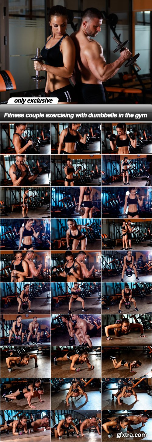 Fitness couple exercising with dumbbells in the gym - 31 UHQ JPEG