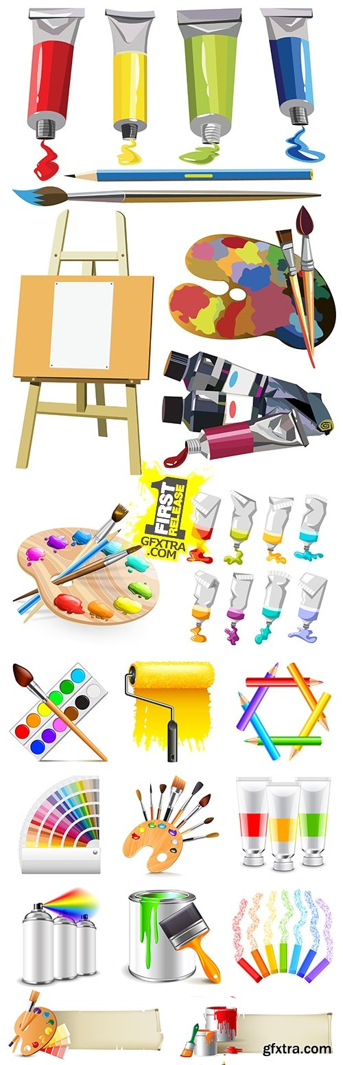 Water color paints of brush and palette for artist