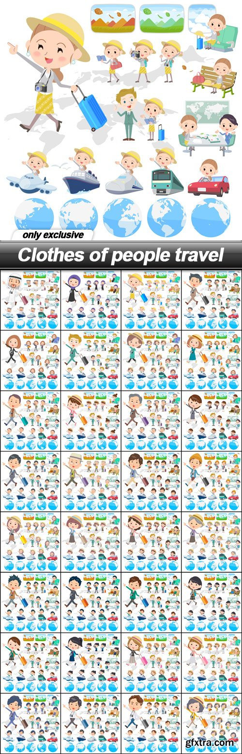 Clothes of people travel - 32 EPS