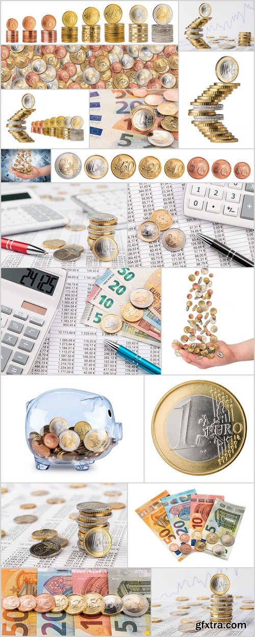 Euro banknotes and coins Growth concept 18X JPEG