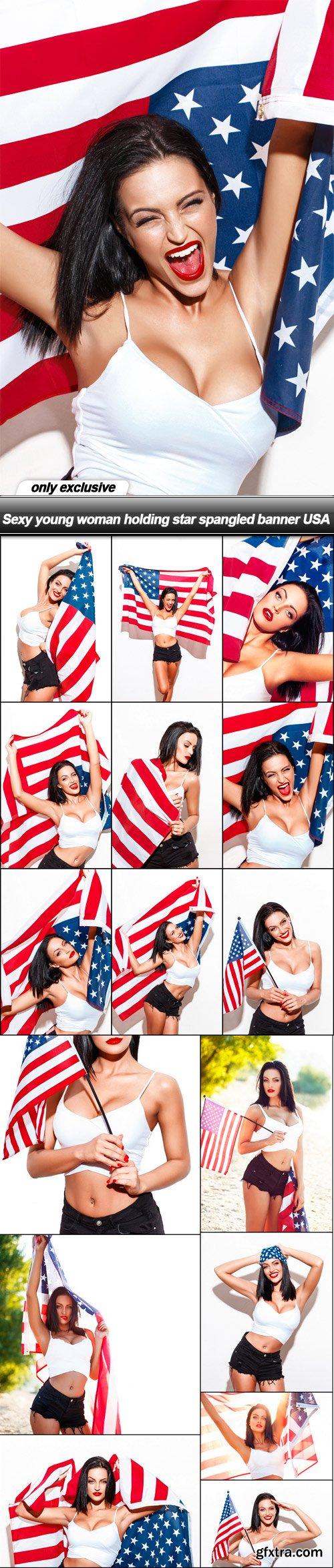 Sexy young woman holding star spangled banner USA - 16 UHQ JPEG