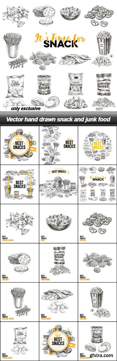 Vector hand drawn snack and junk food - 17 EPS