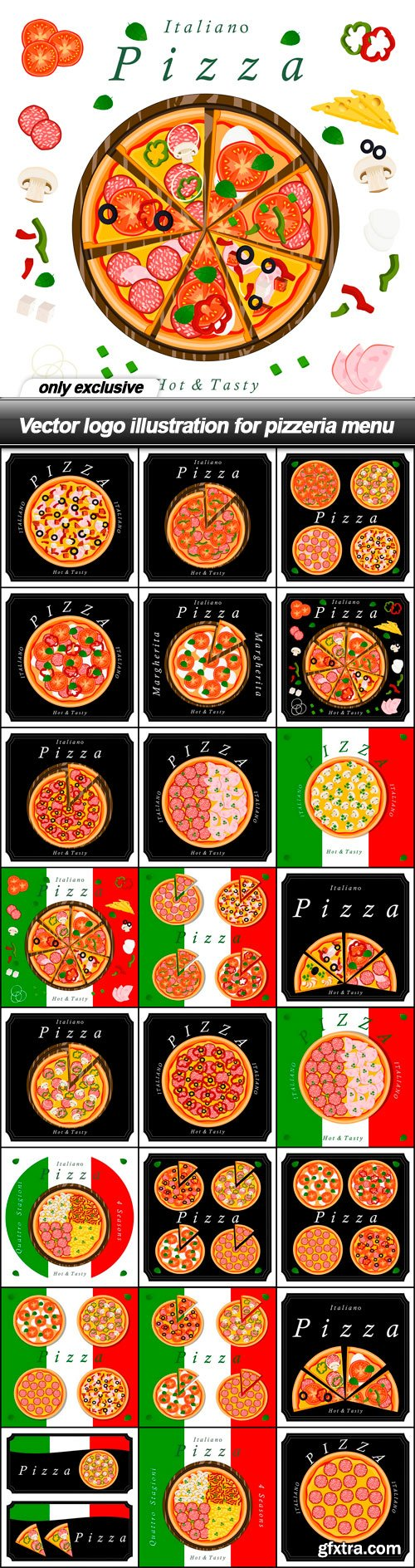 Vector logo illustration for pizzeria menu - 25 EPS