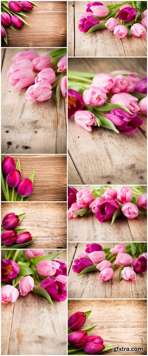 Tulips on a wooden background 10X JPEG