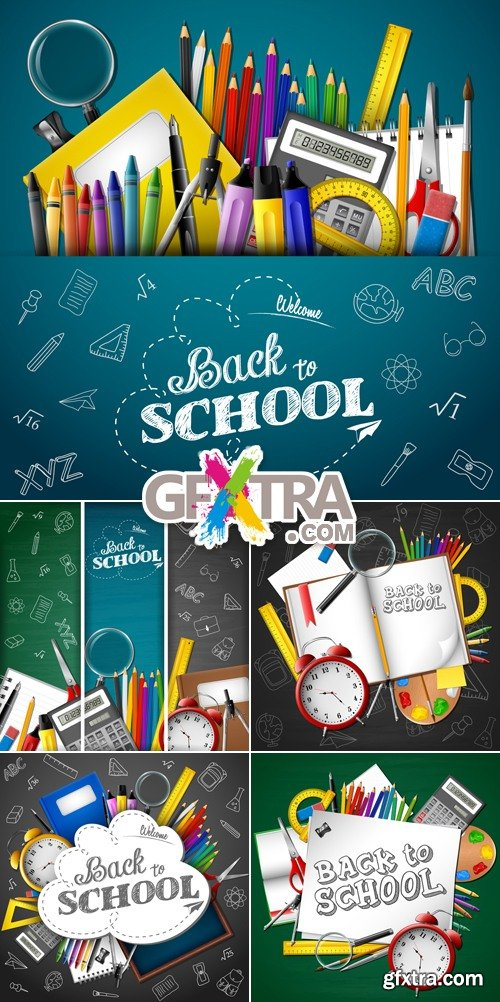 Back to School Banners & Backgrounds Vector
