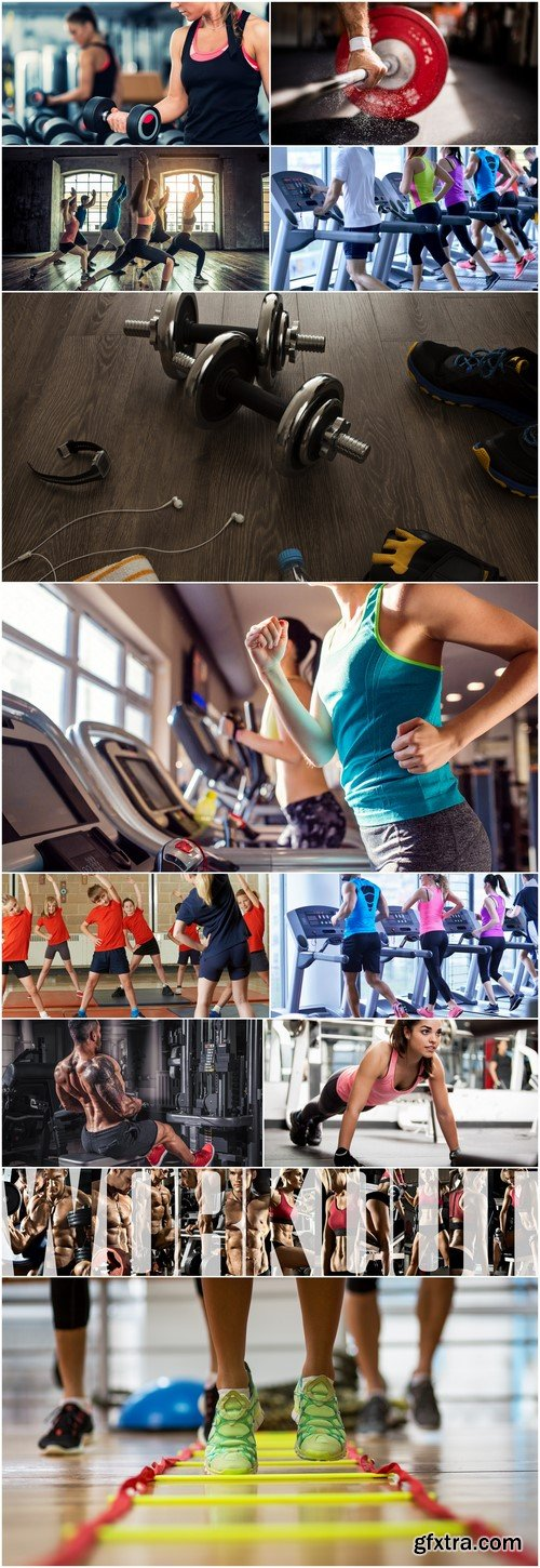Group of sports people in the gym #2 12X JPEG