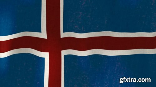Waving flag of iceland loopable hd