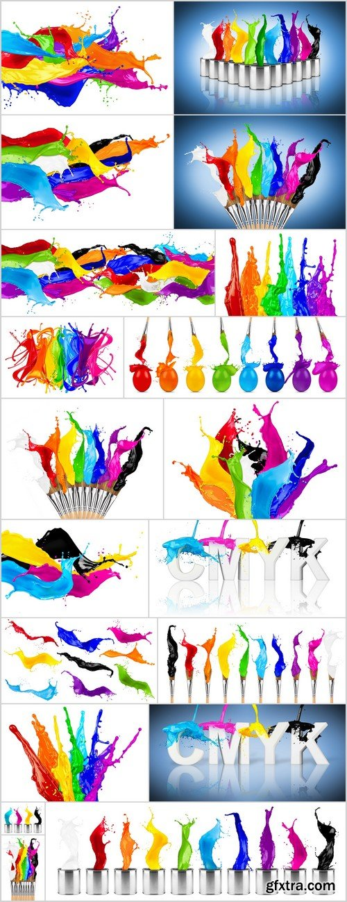 Brushes and bright colors, a splash of color 19X JPEG