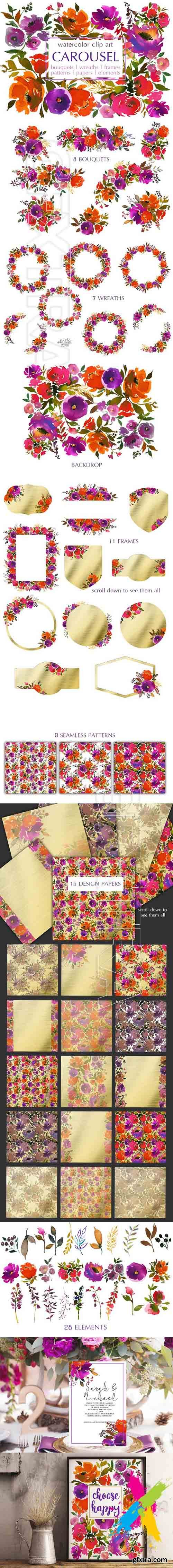 CM - Purple Orange Watercolor Flowers PNG 1694017
