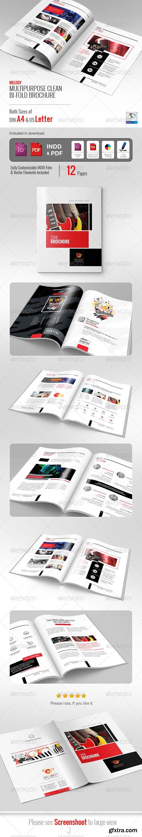Graphicriver - Melody Clean Bifold Brochure 5816693