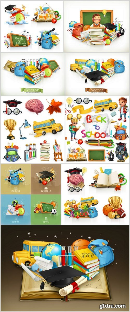 School and education, 3d vector icon set 9X EPS
