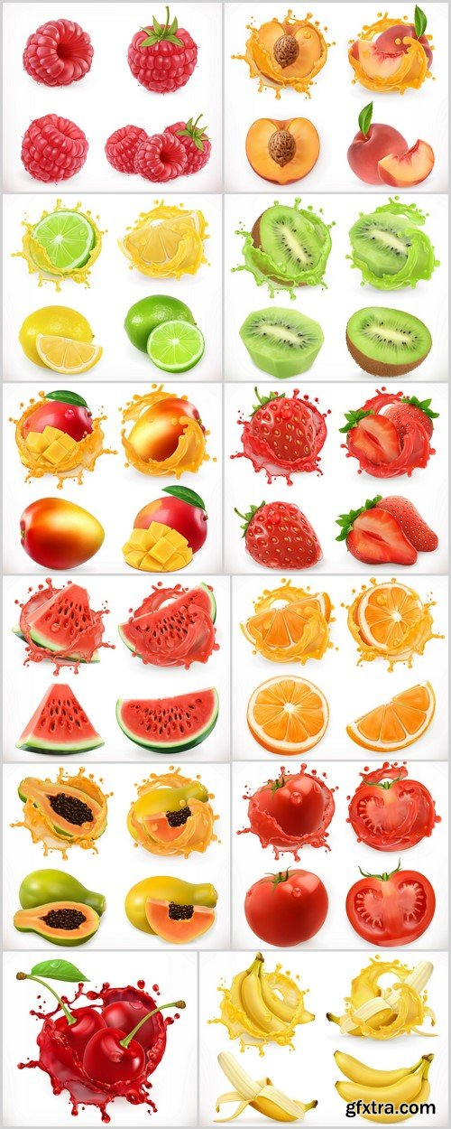 Fresh fruits and splash, 3d realistic vector icon 12X EPS