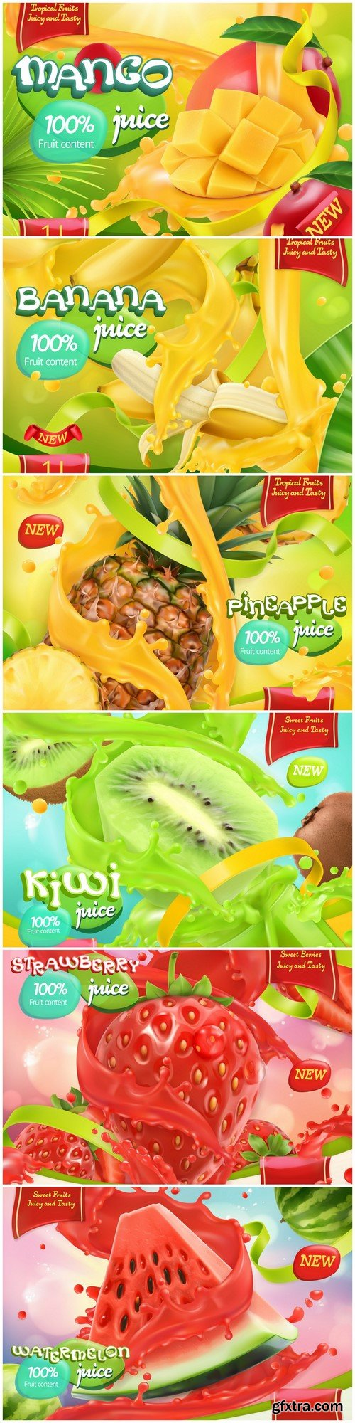 Sweet fruits Juice 3d realistic vector, package design 6X EPS