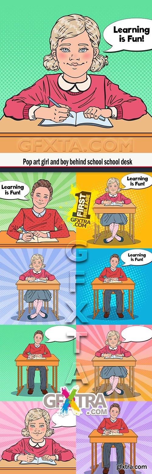 Pop art girl and boy behind school school desk